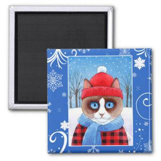 Cute Snowshoe Ragdoll cat, Christmas winter nature Magnet