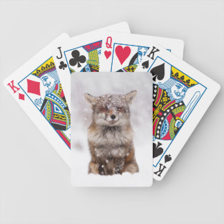 Cute Snowy Fox! Bicycle Playing Cards