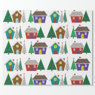 Cute snowy houses - christmas wrapping paper