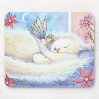 Cute Snuggling Cat and Fairy Mousepad