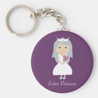 Cute Sober Princess Cartoon Character Purple Keychain