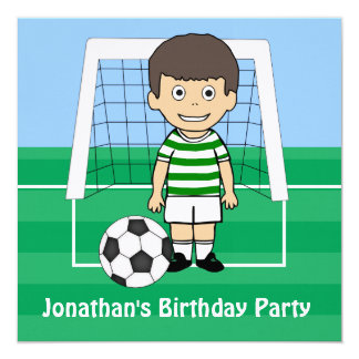 Cute Soccer Player Green White hoops invitations