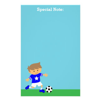 Cute Soccer Star Boy, Football Theme Stationery
