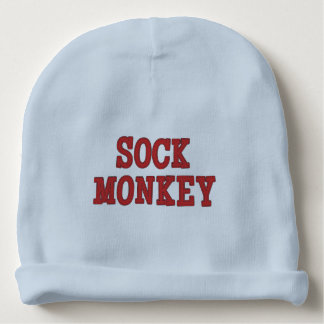 """Cute Sock Monkey"" BABY BEENIE Baby Beanie"