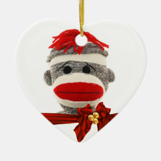 CUTE SOCK MONKEY CHRISTMAS ORNAMENT PERSONALIZED