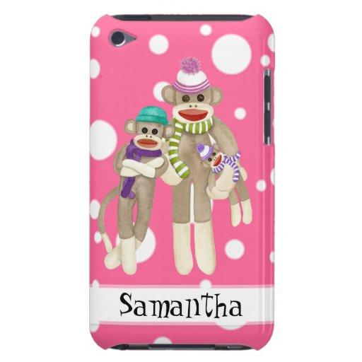 Cute Sock Monkey Girl Friends Whimsical Fun Art Barely There iPod Case