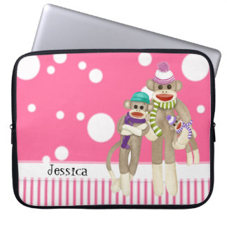 Cute Sock Monkey Girl Friends Whimsical Fun Art Laptop Sleeve