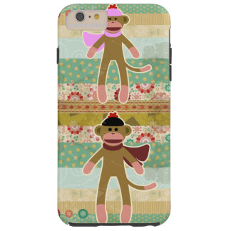 Cute Sock Monkey on Cloth Pattern Tough iPhone 6 Plus Case