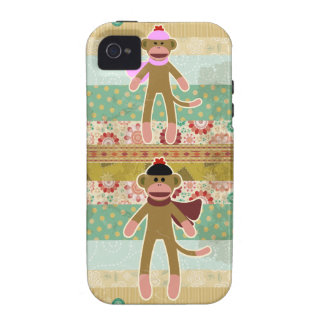 Cute Sock Monkey on Cloth Pattern iPhone 4/4S Covers