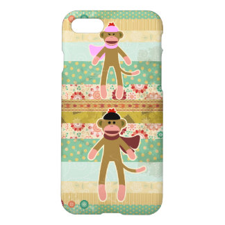Cute Sock Monkey on Cloth Pattern iPhone 7 Case