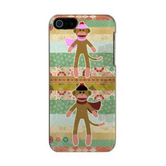 Cute Sock Monkey on Cloth Pattern Incipio Feather® Shine iPhone 5 Case