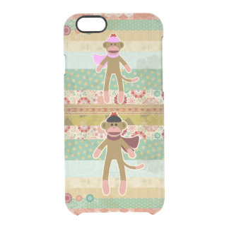 Cute Sock Monkey on Cloth Pattern Uncommon Clearly™ Deflector iPhone 6 Case