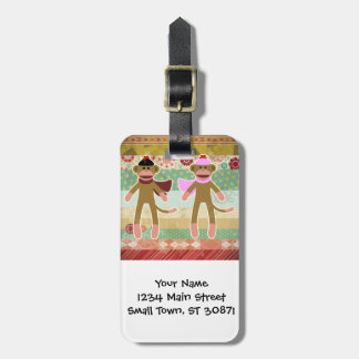 Cute Sock Monkey on Cloth Pattern Luggage Tag