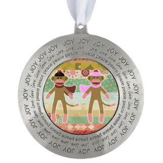 Cute Sock Monkey on Cloth Pattern Round Pewter Ornament
