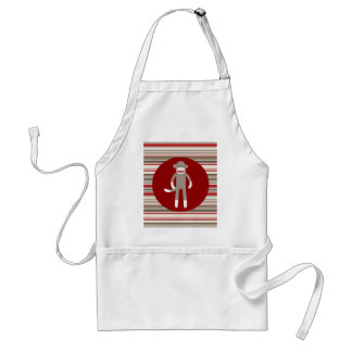 Cute Sock Monkey on Red Circle Red Brown Stripes Standard Apron