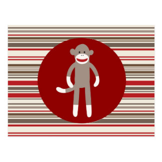 Cute Sock Monkey on Red Circle Red Brown Stripes Postcard