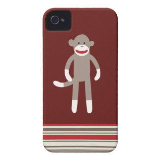 Cute Sock Monkey on Red with Stripes iPhone 4 Cases