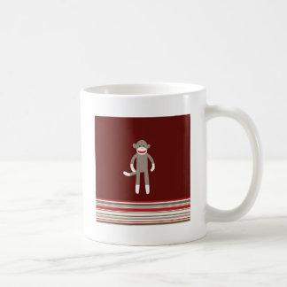 Cute Sock Monkey on Red with Stripes Mug