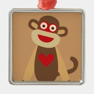 Cute Sock Monkey Silver-Colored Square Ornament