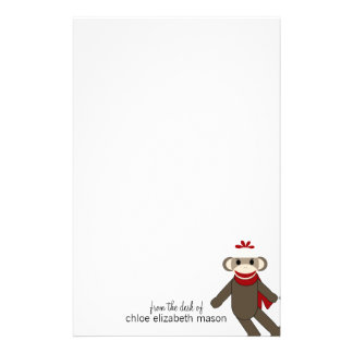 Cute Sock Monkey Stationery
