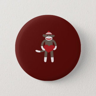 Cute Sock Monkey with Hat Holding Heart 2 Inch Round Button