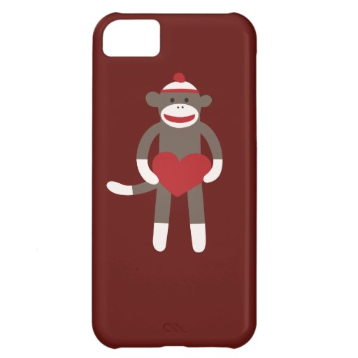 Cute Sock Monkey with Hat Holding Heart iPhone 5C Cover