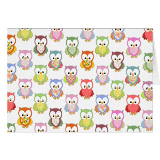 Cute soft colourful owls different chest patterns greeting card