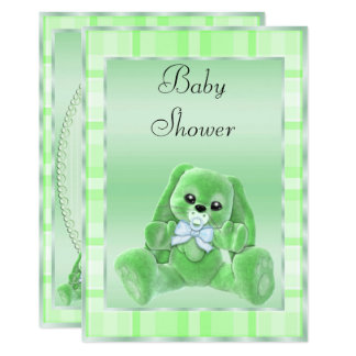 Cute Soft Green Floppy Ears Bunny Baby Shower Card