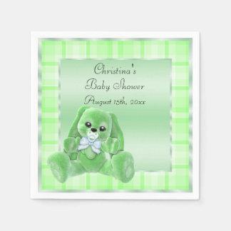 Cute Soft  Green Floppy Ears Bunny Baby Shower Napkin