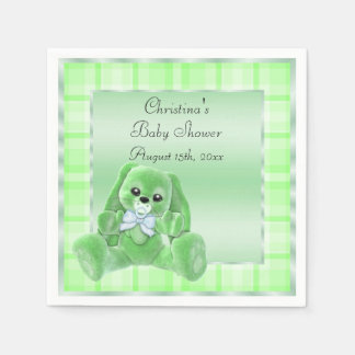 Cute Soft  Green Floppy Ears Bunny Baby Shower Paper Napkins