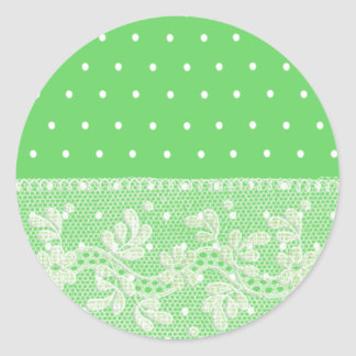 Cute Soft green with white dots and floral lace Classic Round Sticker