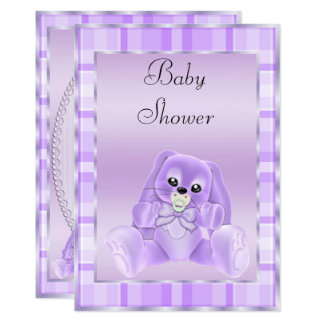 Cute Soft Lilac Floppy Ears Bunny Baby Shower Card