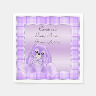 Cute Soft  Lilac Floppy Ears Bunny Baby Shower Paper Napkin