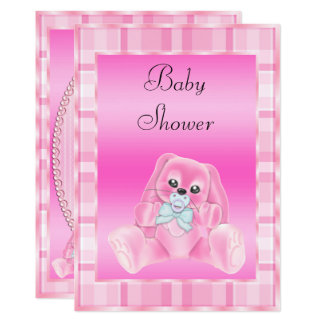 Cute Soft  Pink Floppy Ears Bunny Baby Shower Card