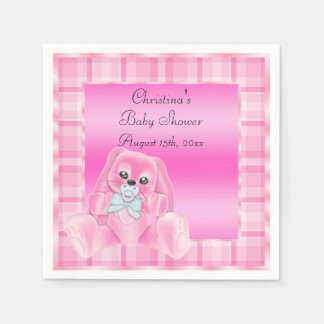 Cute Soft  Pink Floppy Ears Bunny Baby Shower Paper Napkins