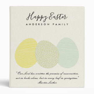 CUTE SOFT SUBTLE PASTEL EASTER EGGS PERSONALIZED 3 RING BINDER