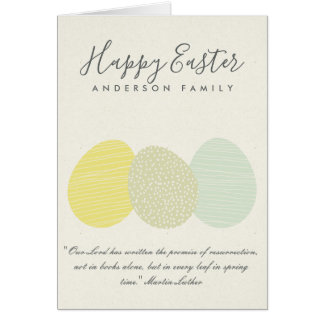 CUTE SOFT SUBTLE PASTEL EASTER EGGS PERSONALIZED CARD