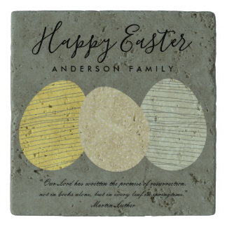CUTE SOFT SUBTLE PASTEL EASTER EGGS PERSONALIZED TRIVET