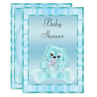 Cute Soft Teal Floppy Ears Bunny Baby Shower Card