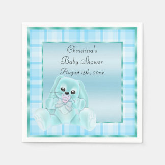 Cute Soft  Teal Floppy Ears Bunny Baby Shower Paper Napkins