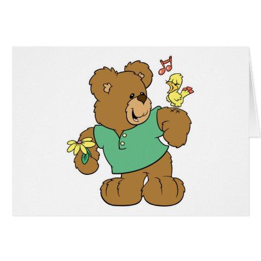Cute Songbird and Teddy Bear Greeting Cards