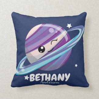 Cute Space Planet Saturn Galaxy Throw Pillow