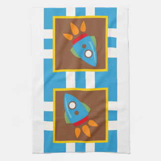 Cute Space Ship Rocket Outer Space Blue Kids Kitchen Towels