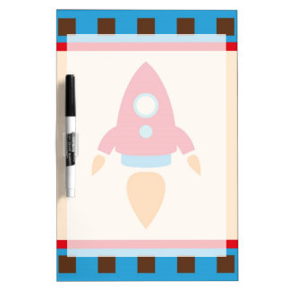 Cute Space Ship Rocket Outer Space Red Blue Dry Erase Board