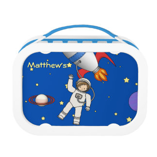 Cute Space Walk Astronaut and Rocketship Lunch Box