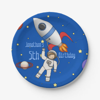 Cute Space Walk Astronaut and Rocketship Paper Plate