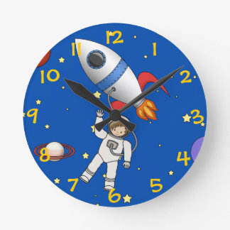 Cute Space Walk Astronaut and Rocketship Round Clock