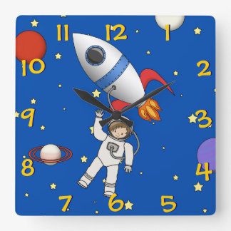 Cute Space Walk Astronaut and Rocketship Square Wall Clock