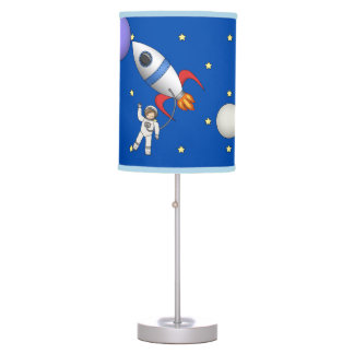 Cute Space Walk Astronaut and Rocketship Table Lamp