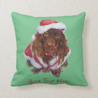 Cute spaniel dog realist art Christmas Throw Pillow